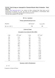 Data Sheet PI1 - IUPAC Task Group on Atmospheric Chemical