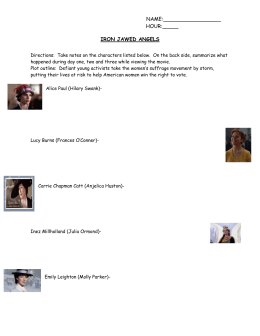 Iron Jawed Angels movie viewing worksheet.