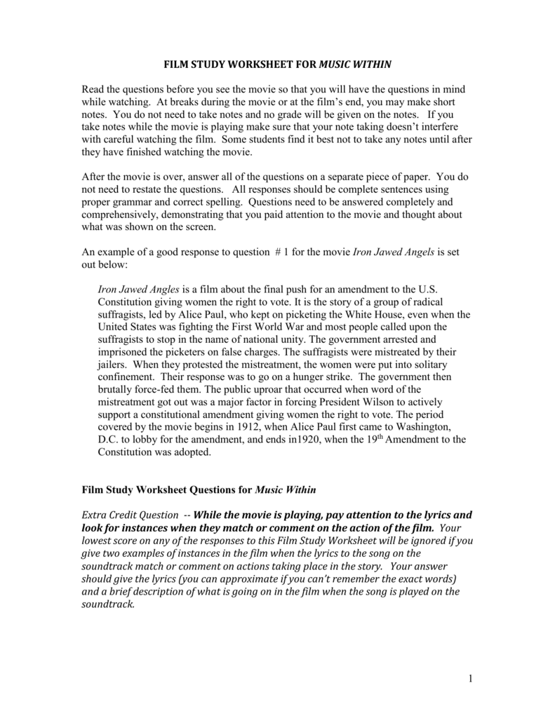 Music Within Film Study Worksheet