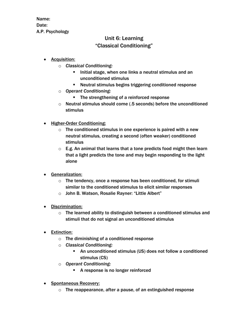a p psychology 6 b classical conditioning
