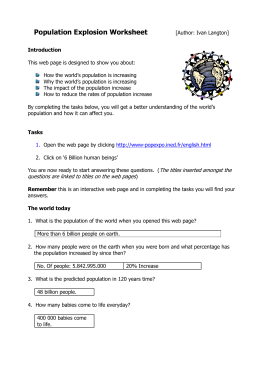 Population Explosion Worksheet [Author: Ivan Langton]