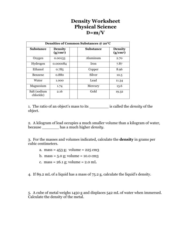 Worksheets Density Worksheet Physical Science density worksheet
