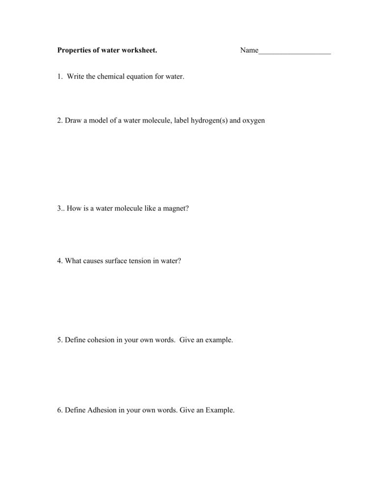 Properties of water worksheet