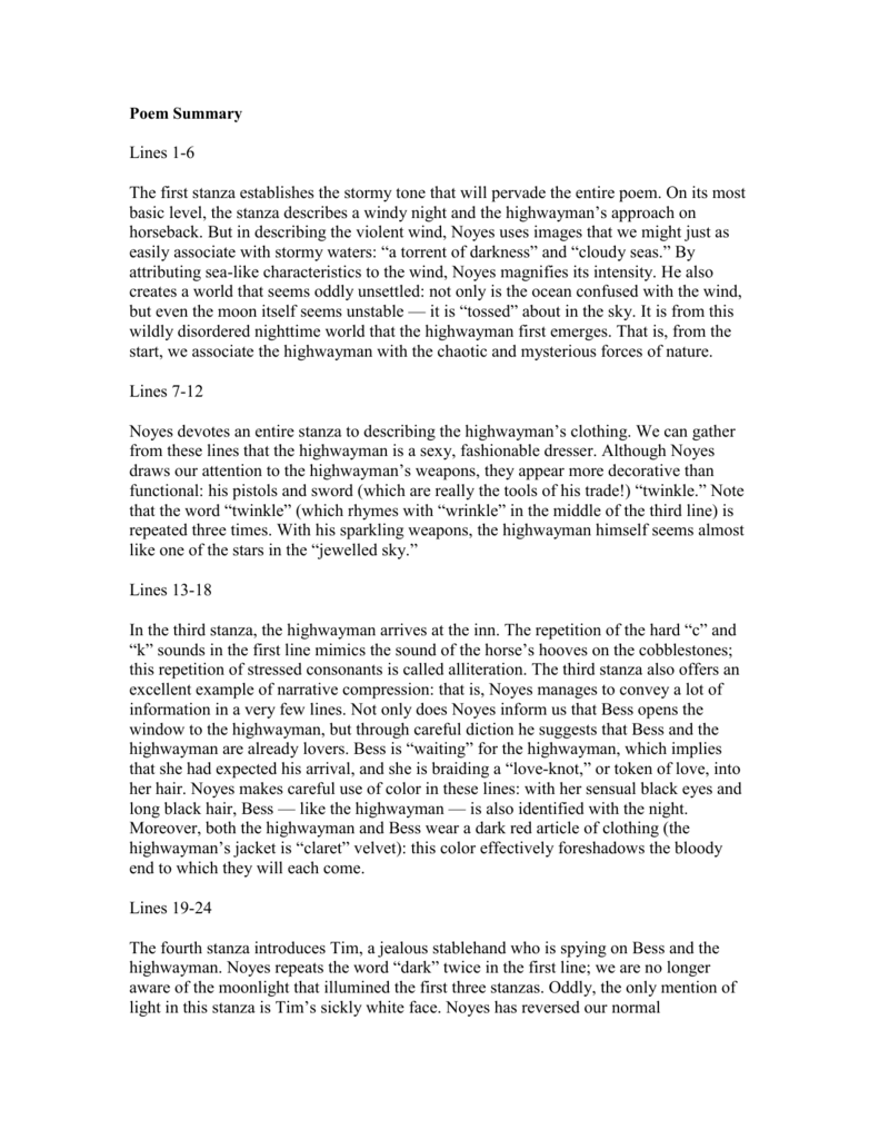 the highwayman poem summary