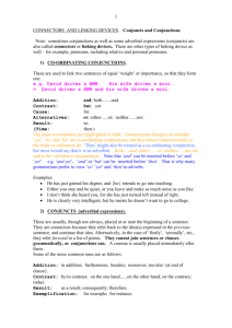 Link to grammar of CONJUNCTS and CONJUNCTIONS