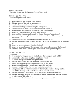 "Chapter 9 Worksheet ""Emerging Europe and the Byzantine Empire"