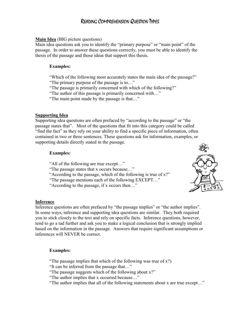 - Reading Comprehension Question Types Kinds