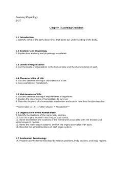 Ch. 1 Objectives