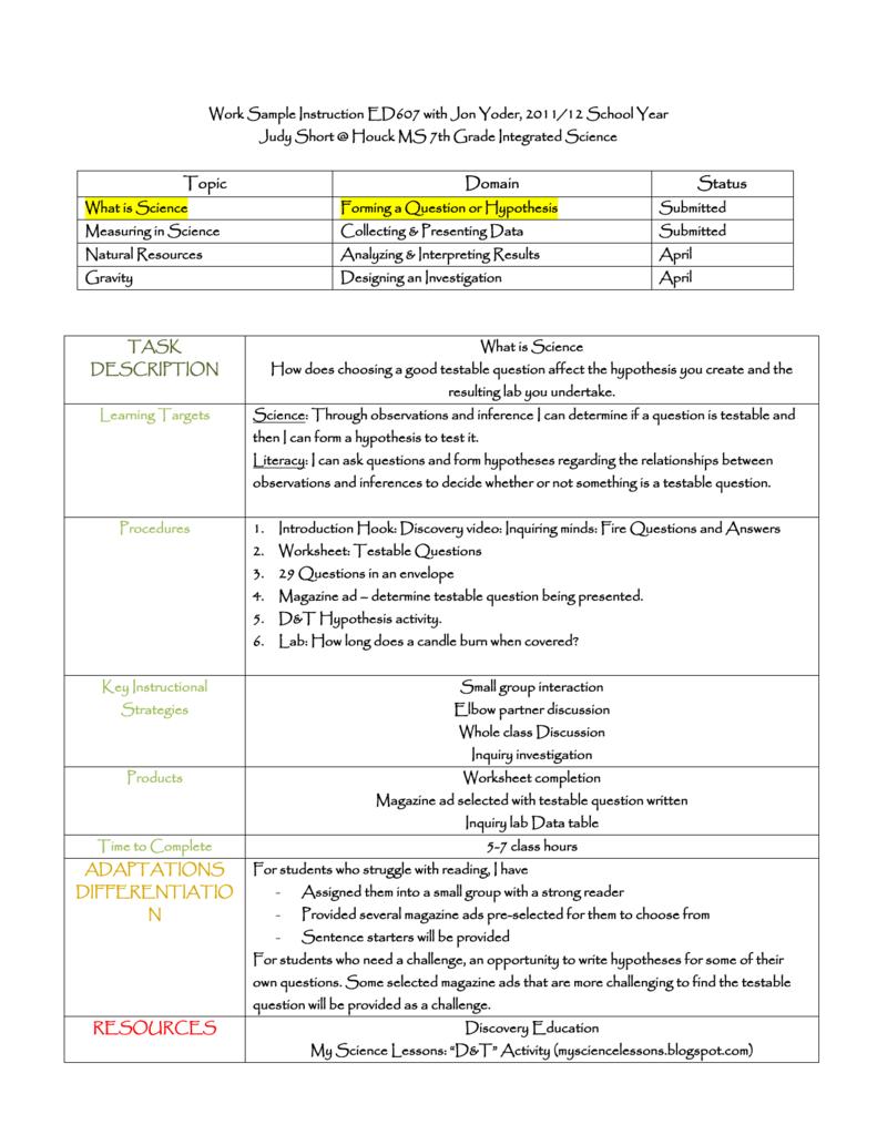 Question-Hypothesis Lesson 4