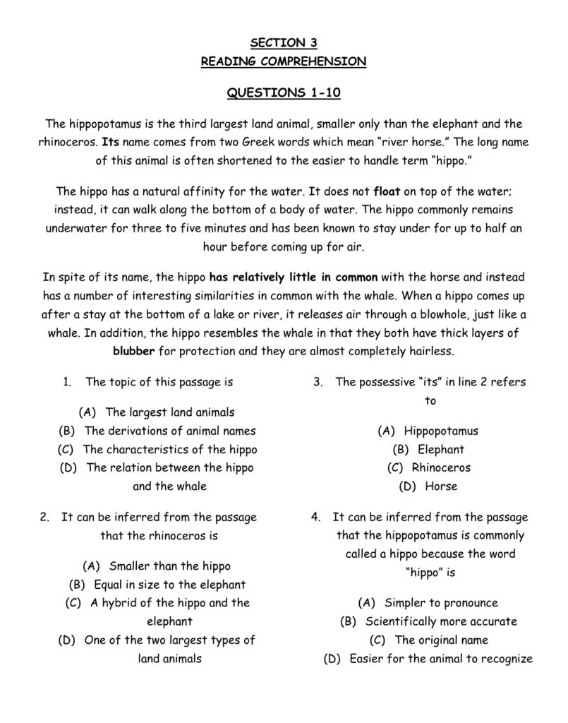 - SECTION 3 READING COMPREHENSION QUESTIONS 1