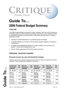 The Federal Budget for 2008/09 and how it will affect your financial
