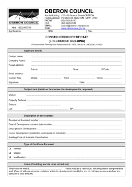 Application for Construction Certificate for Building