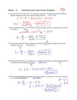 Worksheet - 7.1 Electric Circuits
