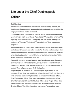 Life under the Chief Doublespeak Officer