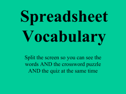 Spreadsheet Vocabulary