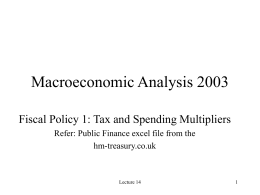 Fiscal Policy 1: Tax and Spending Multipliers and Automatic