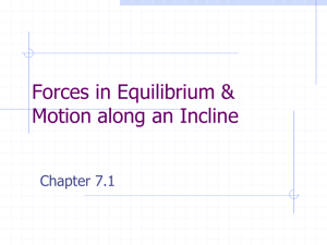 Forces in Equilibrium & Motion along an Incline