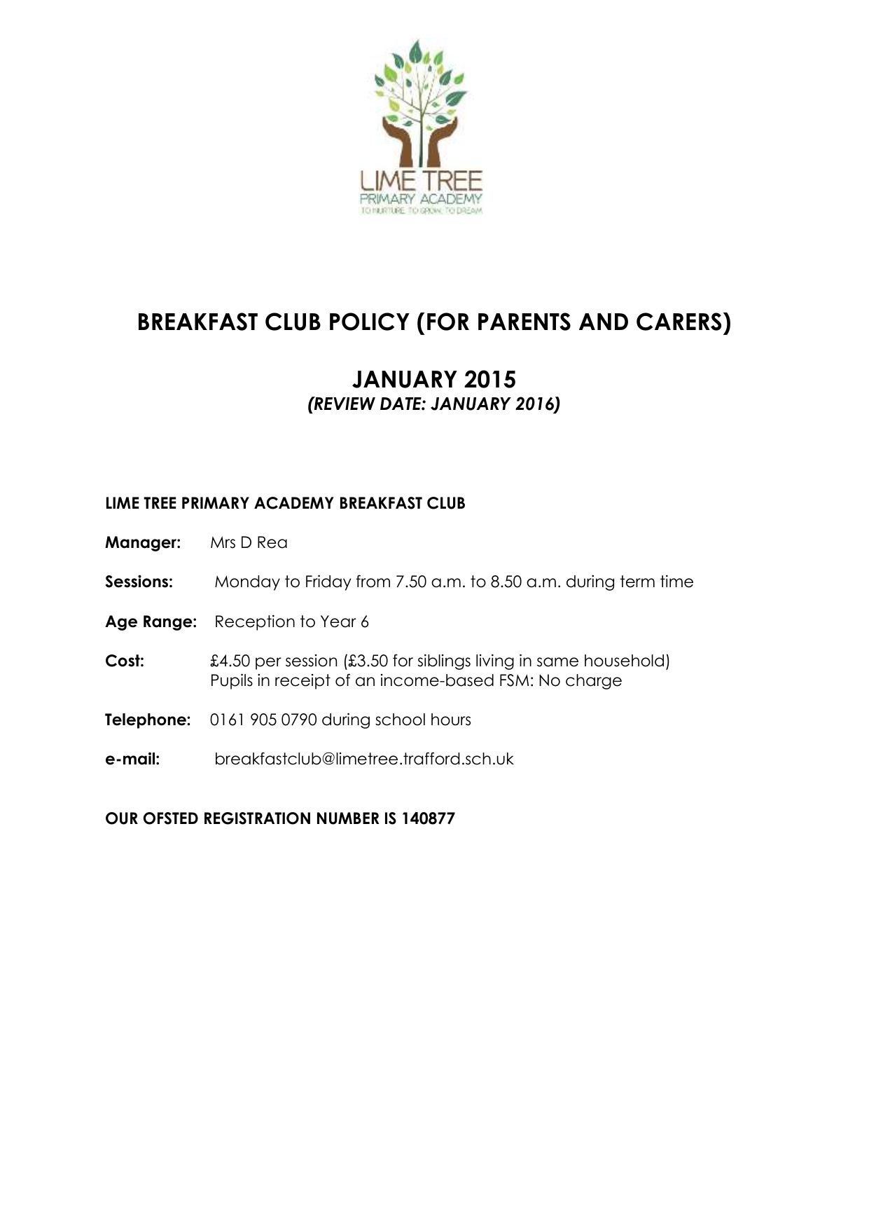 Breakfast Club- Policy September 2015