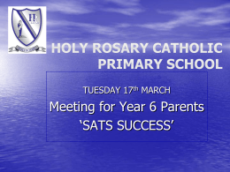 SATS SUCCESS Parents meeting 2015