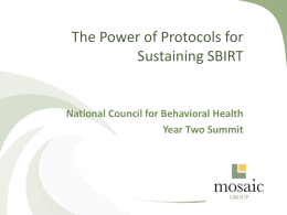 The Power of Protocols for Sustaining SBIRT