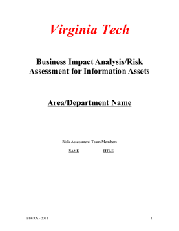 Business Impact Analysis/Risk Assessment for Information Assets