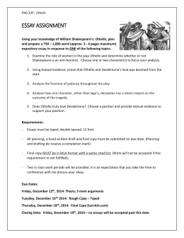 Essays For High School Students To Read Othello Essay Topics  Sample Essays High School Students also What Is The Thesis Of A Research Essay Essay Prompts Thesis For Compare Contrast Essay