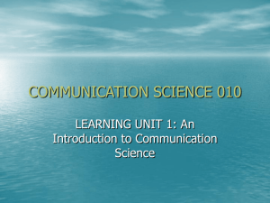 COMMUNICATION SCIENCE 010