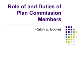 Role of and duties of Plan Commission Members