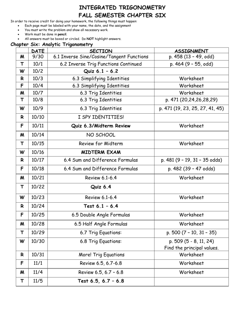 ADVANCED ALGEBRA AND TRIGONOMETRY – Trig Equations Worksheet