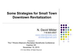Some Strategies for Small Town Downtown