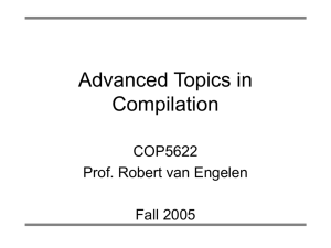 COP5622 Advanced Topics in Compilation