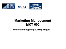 M.B.A – MARKETING MANAGEMENT