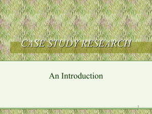 CASE STUDY RESEARCH: