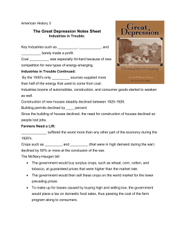The Great Depression Notes Sheet
