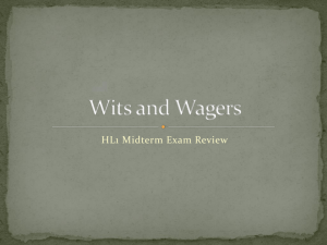 Wits and Wagers Midterm Review - IB HL 2009