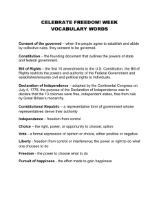 Celebrate Freedom Week Vocabulary Words