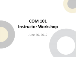 COM 101 Instructor & Peer Leader Training