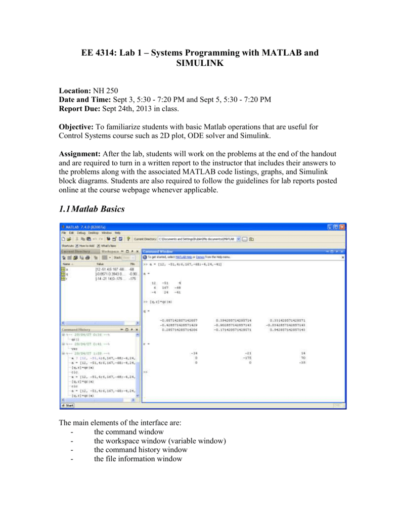 Laboratory 1: MATLAB & SIMULINK - report due September 24 in