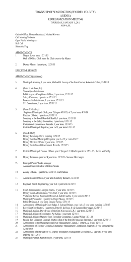 TOWNSHIP OF WASHINGTON (WARREN COUNTY) AGENDA