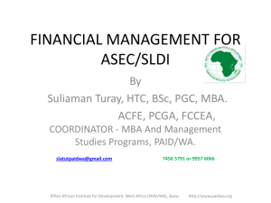 financial management for asec/sldi