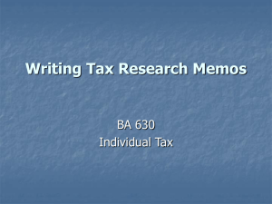 Writing Tax Research Memos