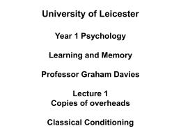 University of Leicester Year 1 Psychology Learning and Memory