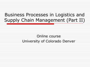 Business Processes in Global Supply Chain Management (Part I)
