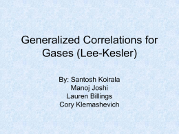 Generalized Correlations for Gasses (Lee