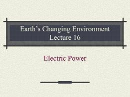 Earth's Changing Environment Lecture 1