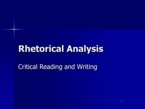 Rhetorical analysis specific
