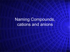 Naming Compounds cations and anions