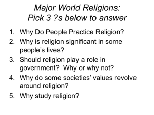 Warm Up: World Religions Timeline Put the religions of Judaism