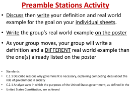 Preamble Stations Activity