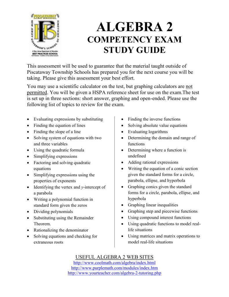 Algebra 2 Competency Exam Study Guide